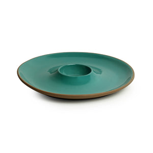 'Earthen Turquoise' Hand Glazed Chip-N-Dip Serving Platter In Ceramic (Microwave Safe)