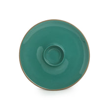 Load image into Gallery viewer, 'Earthen Turquoise' Hand Glazed Chip-N-Dip Serving Platter In Ceramic (Microwave Safe)
