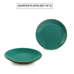 'Earthen Turquoise' Hand Glazed Side/Quarter Plates In Ceramic (Set of 2, Microwave Safe)