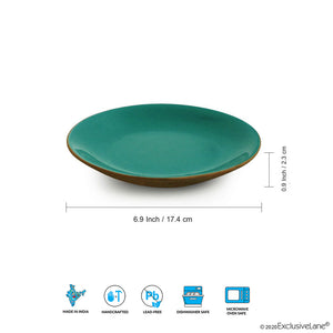 'Earthen Turquoise' Hand Glazed Side/Quarter Plates In Ceramic (Set of 6, Microwave Safe)