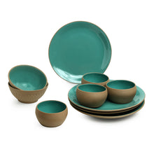 Load image into Gallery viewer, 'Earthen Turquoise' Hand Glazed Dinner Plates With Serving Bowls & Katoris In Ceramic (10 Pieces, Serving for 4, Microwave Safe)
