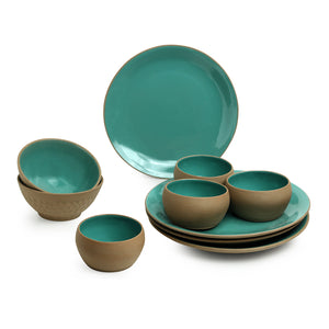'Earthen Turquoise' Hand Glazed Dinner Plates With Serving Bowls & Katoris In Ceramic (10 Pieces, Serving for 4, Microwave Safe)