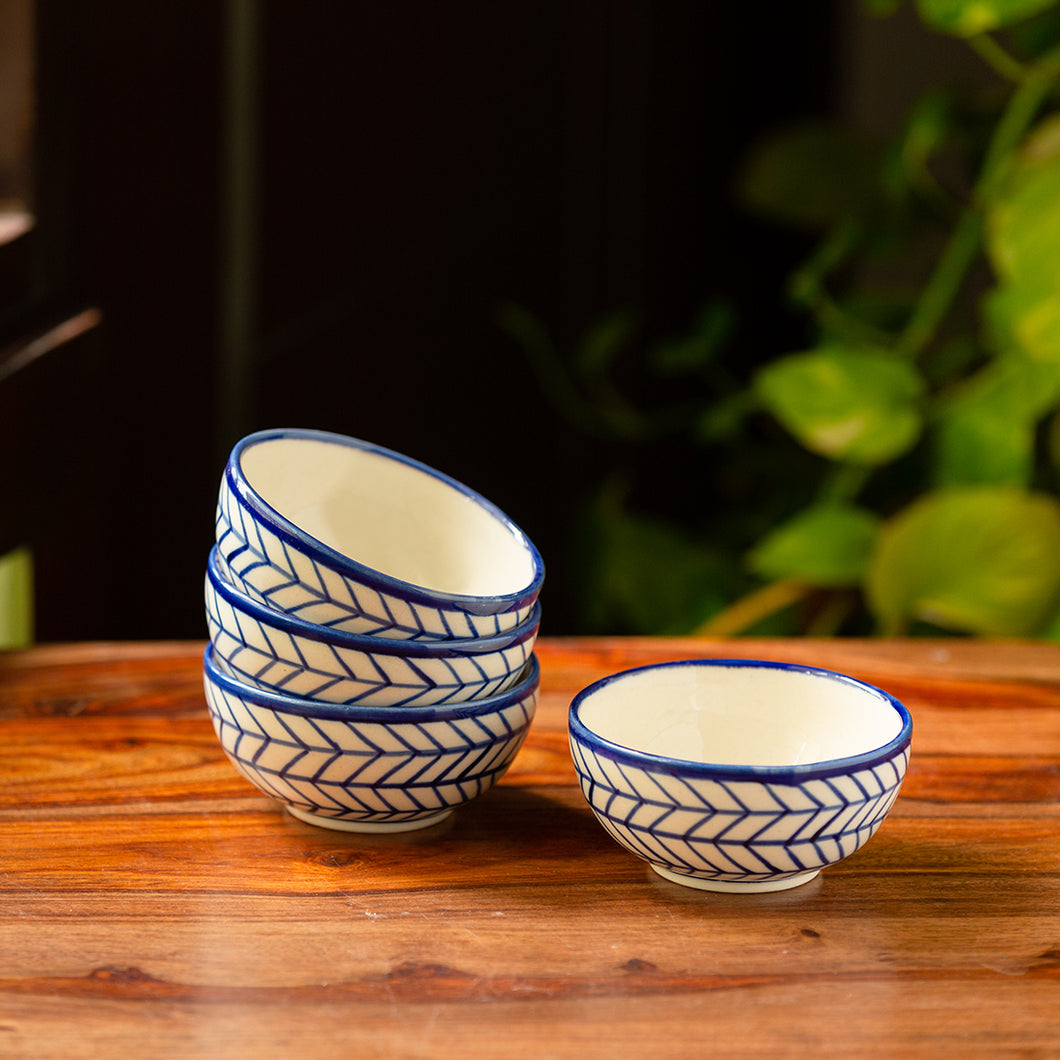 'Indigo Chevron' Hand-painted Ceramic Dining Bowl Katoris (Set of 4, 160 ML, Microwave Safe)