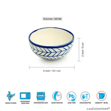 Load image into Gallery viewer, 'Indigo Chevron' Hand-painted Ceramic Dining Bowl Katoris (Set of 4, 160 ML, Microwave Safe)
