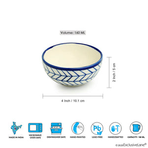 'Indigo Chevron' Hand-painted Ceramic Dining Bowl Katoris (Set of 6, 160 ML, Microwave Safe)