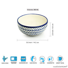 Load image into Gallery viewer, 'Indigo Chevron' Hand-painted Ceramic Serving Bowls (Set of 2, 380 ML, Microwave Safe)