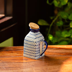'Indigo Chevron' Hand-painted Ceramic Milk & Water Jug (Non-airtight, 480 ML, Microwave Safe)