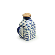 Load image into Gallery viewer, 'Indigo Chevron' Hand-painted Ceramic Milk & Water Jug (Non-airtight, 480 ML, Microwave Safe)