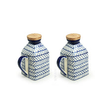 Load image into Gallery viewer, 'Indigo Chevron' Hand-painted Ceramic Milk & Water Jugs (Non-airtight, Set of 2, 480 ML, Microwave Safe)