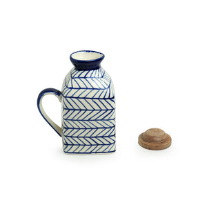 'Indigo Chevron' Hand-painted Ceramic Milk & Water Jugs (Non-airtight, Set of 2, 480 ML, Microwave Safe)