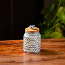 'Indigo Chevron' Hand-painted Ceramic Multi-utility Storage Jar & Container (Airtight, 470 ML, Microwave Safe)