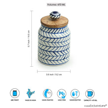 Load image into Gallery viewer, 'Indigo Chevron' Hand-painted Ceramic Multi-utility Storage Jar & Container (Airtight, 470 ML, Microwave Safe)