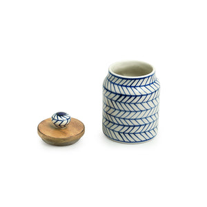 'Indigo Chevron' Hand-painted Ceramic Multi-utility Storage Jars & Containers (Airtight, Set of 2, 470 ML, Microwave Safe)