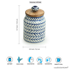 Load image into Gallery viewer, 'Indigo Chevron' Hand-painted Ceramic Multi-utility Storage Jars & Containers (Airtight, Set of 2, 470 ML, Microwave Safe)