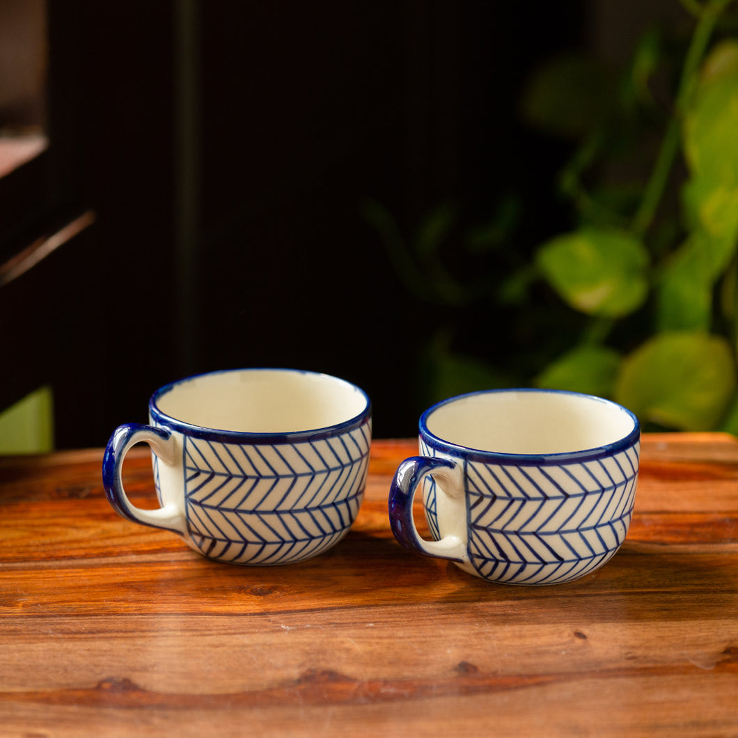 'Indigo Chevron' Hand-painted Ceramic Coffee & Milk Mugs (Set of 2, 320 ML, Microwave Safe)