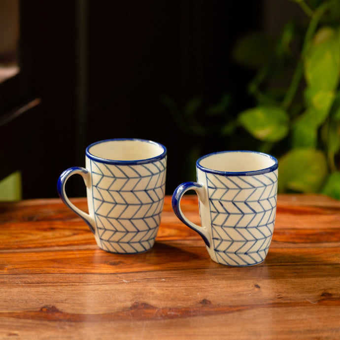 'Indigo Chevron' Hand-painted Ceramic Tea & Coffee Mugs (Set of 2, 300 ML, Microwave Safe)