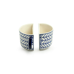 'Indigo Chevron' Hand-painted Ceramic Unique Half Cup For Coffee & Tea (Set of 2, 200 ML, Microwave Safe)