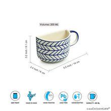 Load image into Gallery viewer, 'Indigo Chevron' Hand-painted Ceramic Unique Half Cup For Coffee & Tea (Set of 2, 200 ML, Microwave Safe)