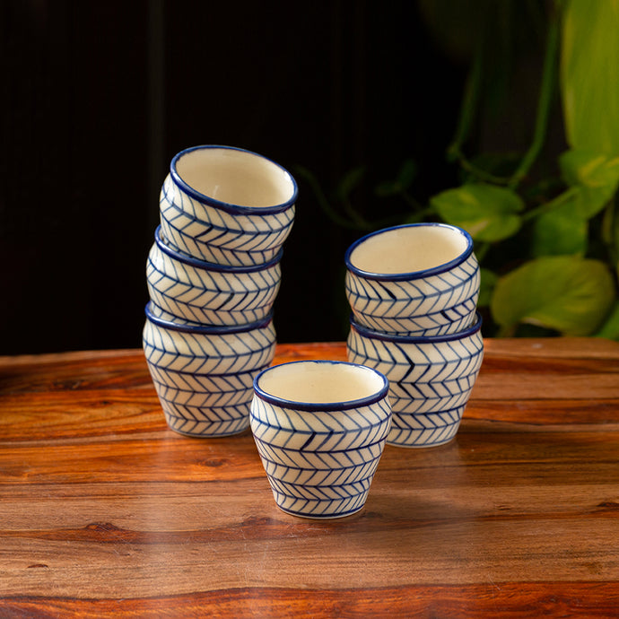 'Indigo Chevron' Hand-painted Ceramic Tea Kullads (Set of 6, 170 ML, Microwave Safe)