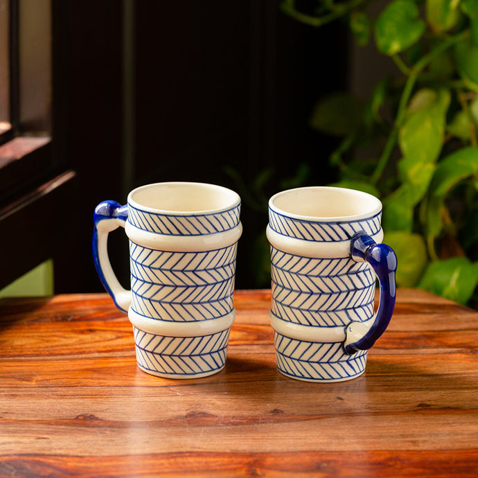 'Indigo Chevron' Hand-painted Ceramic Milk & Beer Mugs (Set of 2, 510 ML, Microwave Safe)