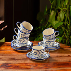 'Indigo Chevron' Hand-painted Ceramic Tea Cups With Saucers (Set of 6, 160 ML, Microwave Safe)