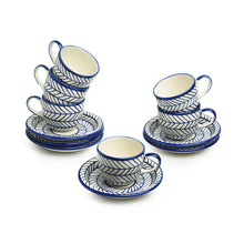Load image into Gallery viewer, 'Indigo Chevron' Hand-painted Ceramic Tea Cups With Saucers (Set of 6, 160 ML, Microwave Safe)