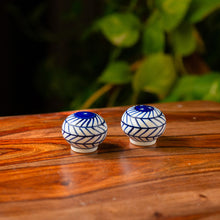 Load image into Gallery viewer, 'Indigo Chevron Martaban' Hand-painted Ceramic Miniature Salt & Pepper Shaker Set (24 ML)