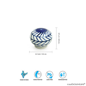 'Indigo Chevron Martaban' Hand-painted Ceramic Miniature Salt & Pepper Shaker Set (24 ML)
