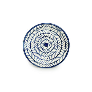 'Indigo Chevron' Hand-painted Ceramic Side/Quarter Plates (Set of 2, Microwave Safe)