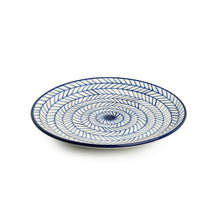Load image into Gallery viewer, 'Indigo Chevron' Hand-painted Ceramic Dinner Plates (Set of 2, Microwave Safe)