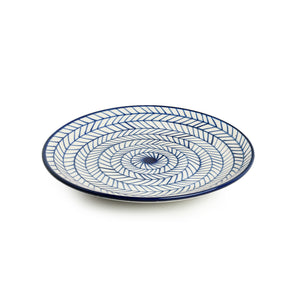 'Indigo Chevron' Hand-painted Ceramic Dinner Plates (Set of 2, Microwave Safe)