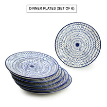 Load image into Gallery viewer, 'Indigo Chevron' Hand-painted Ceramic Dinner Plates (Set of 6, Microwave Safe)