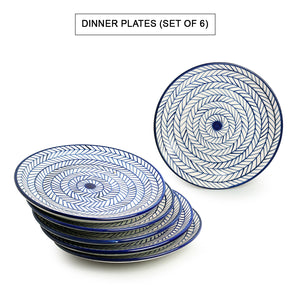 'Indigo Chevron' Hand-painted Ceramic Dinner Plates (Set of 6, Microwave Safe)