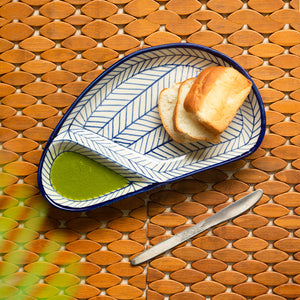 'Indigo Chevron Avocado' Hand-painted Ceramic Chip-N-Dip Serving Platter (Microwave Safe)