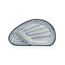 Load image into Gallery viewer, 'Indigo Chevron Avocado' Hand-painted Ceramic Chip-N-Dip Serving Platter (Microwave Safe)