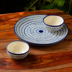 'Indigo Chevron' Hand-painted Ceramic Dinner Plate With Katoris (3 Pieces, Serving for 1, Microwave Safe)