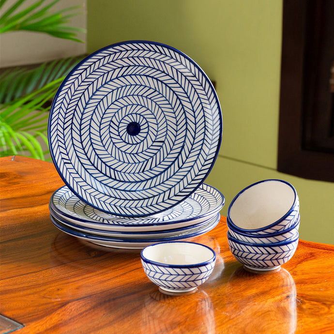 'Indigo Chevron' Hand-painted Ceramic Dinner Plates With Katoris (8 Pieces, Serving for 4, Microwave Safe)