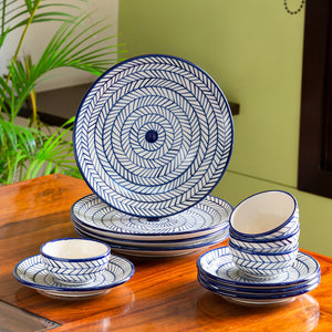 'Indigo Chevron' Hand-painted Ceramic Dinner Plates With Side/Quarter Plates & Katoris (12 Pieces, Serving for 4, Microwave Safe)