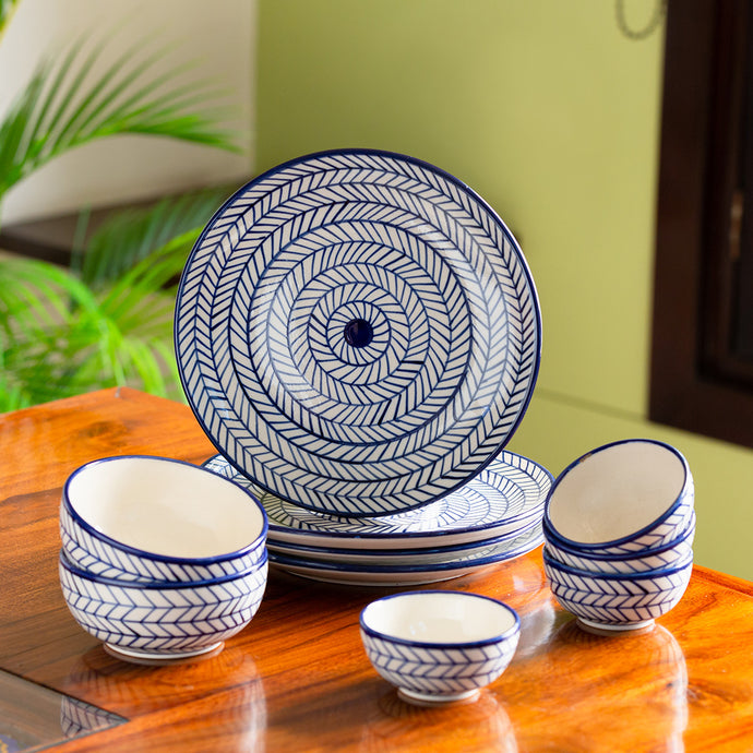 'Indigo Chevron' Hand-painted Ceramic Dinner Plates With Serving Bowls & Katoris (10 Pieces, Serving for 4, Microwave Safe)