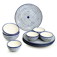 Load image into Gallery viewer, 'Indigo Chevron' Hand-painted Ceramic Dinner Plates With Serving Bowls & Katoris (10 Pieces, Serving for 4, Microwave Safe)