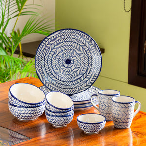 'Indigo Chevron' Hand-painted Ceramic Dinner Plates With Serving Bowls, Katoris & Mugs (12 Pieces, Serving for 4, Microwave Safe)