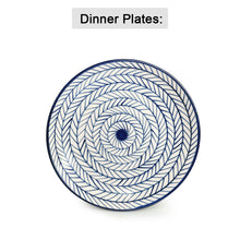 Load image into Gallery viewer, 'Indigo Chevron' Hand-painted Ceramic Dinner Plates With Serving Bowls, Katoris & Mugs (12 Pieces, Serving for 4, Microwave Safe)