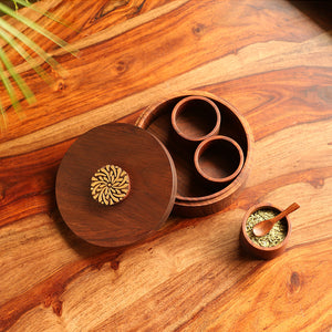 'Floral Block' Hand Carved Refreshment Box With Spoon In Sheesham Wood (3 Detachable Containers, 60 ML)