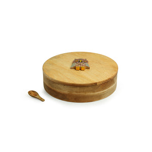 'Rainbow Owl Motif' Spice Box With Spoon In Mango Wood (7 Detachable Containers, 70 ML)