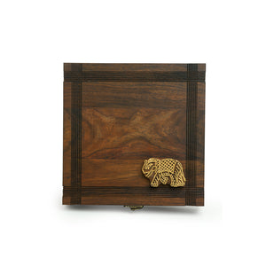 'Royal Elephant Block' Hand Carved Spice Box With Spoon In Sheesham Wood (7 Compartments, 70 ML)
