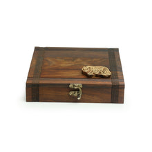 Load image into Gallery viewer, 'Royal Elephant Block' Hand Carved Spice Box With Spoon In Sheesham Wood (7 Compartments, 70 ML)