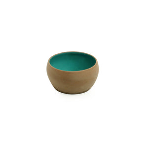 'Earthen Turquoise' Hand Glazed Dining Bowl Katoris In Ceramic (Set of 6, 180 ML, Microwave Safe)