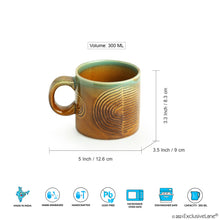 Load image into Gallery viewer, 'Peacock Boulevard' Hand-Engraved Ceramic Coffee & Tea Mugs (Set of 2, 300 ML, Microwave Safe)