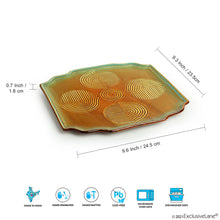 Load image into Gallery viewer, 'Peacock Boulevard' Hand-Engraved Ceramic Serving Platter (Microwave Safe)