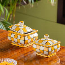 'Shatranj Checkered' Hand-painted Serving Handis with Lids in Ceramic (Set of 2, Microwave Safe)